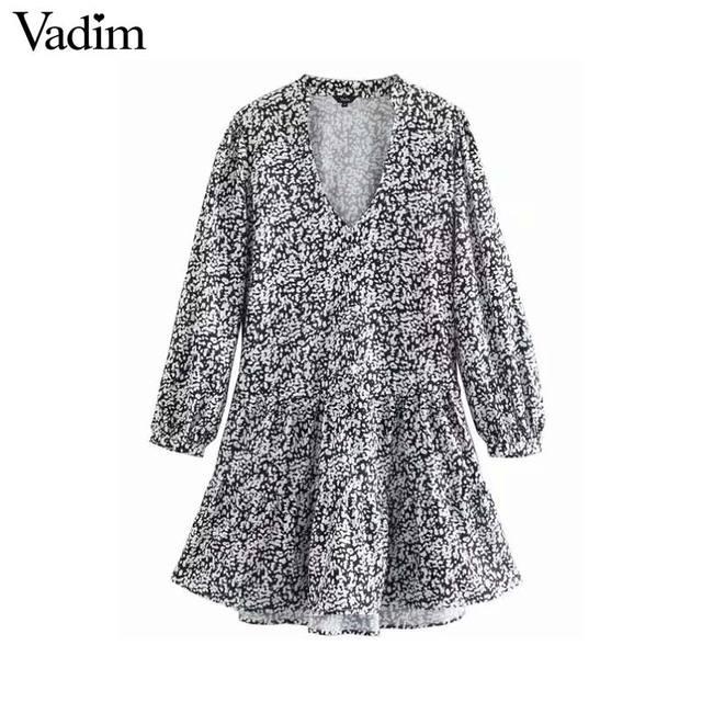 Vadim נשים רטרו הדפסת מיני שמלת V צוואר ארוך שרוול ישר סגנון נשי מזדמן בסיסי אופנה שמלות vestidos QD103