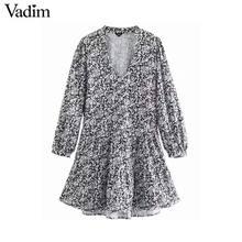 Vadim delle donne retro stampa mini vestito con scollo a V manica lunga di stile dritto casual femminile di base abiti di moda abiti QD103