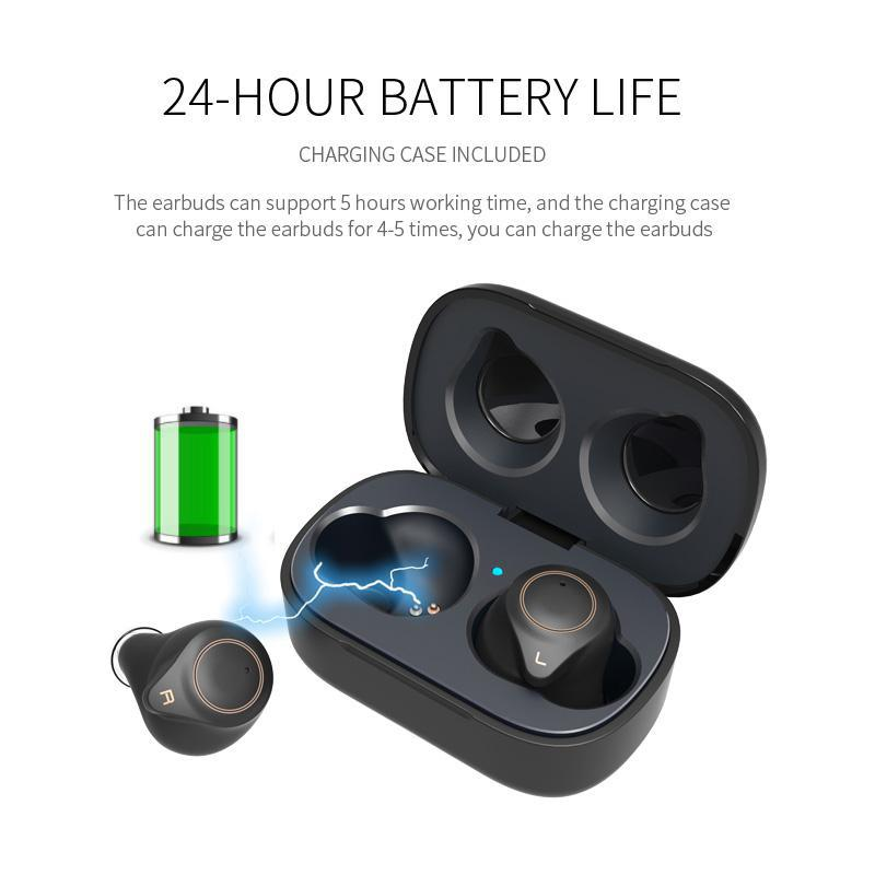 TWS True Wireless Bluetooth 5 0 Earphone CVC8 Noise Cancellation Super Bass HD Microphone Earbuds with Charging Box Gift in Bluetooth Earphones Headphones from Consumer Electronics