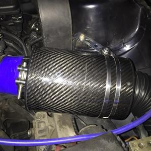 """Image 5 - Sistema universal de admissão de ar frio para carro de 3 """"com caixa de filtro do kit de filtro de admissão de ar por indução de alimentação fria de fibra de carbono de corrida"""
