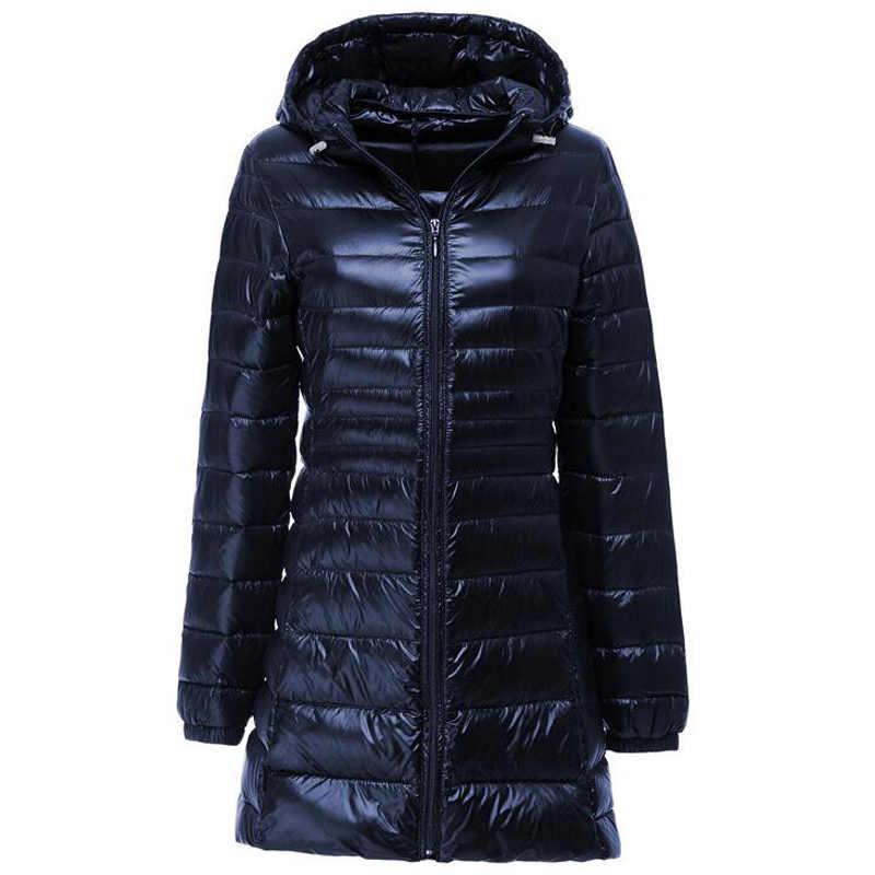 Большой размер, пуховик для женщин, весна, осень, зима, теплые пальто на утином пуху, женские длинные тонкие легкие куртки с капюшоном, женская пуховая одежда