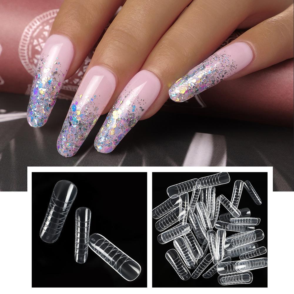 Кончики для ногтей COSCELIA, французские двойные формы для наращивания ногтей, искусственный гель для наращивания ногтей, форма для ногтей, про...