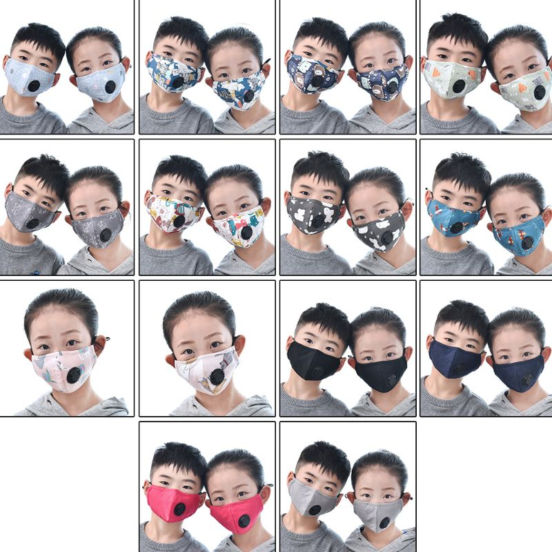 Girls And Boys Winter Cotton PM2.5 Mouth Mask With 2 Filters Exhaust Valve Q0KD