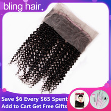 Bling Hair Brazilian Kinky Curly 360 Lace Frontal Closure with Baby Hair Pre plucked 100% Remy Human Hair Closure Bleached Knots