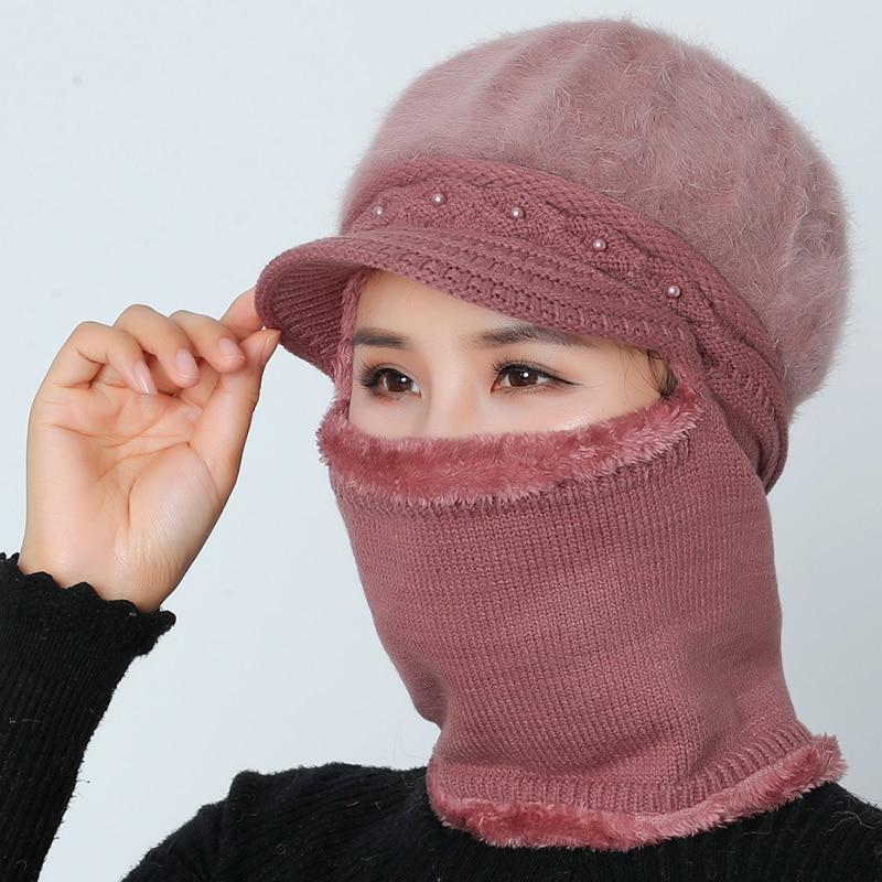 High Quality Winter Hats For Women Skullies Beanie Cap Woolen Caps Set Warm Mask Gorras Bonnet Rabbit Hair Knitted Hat