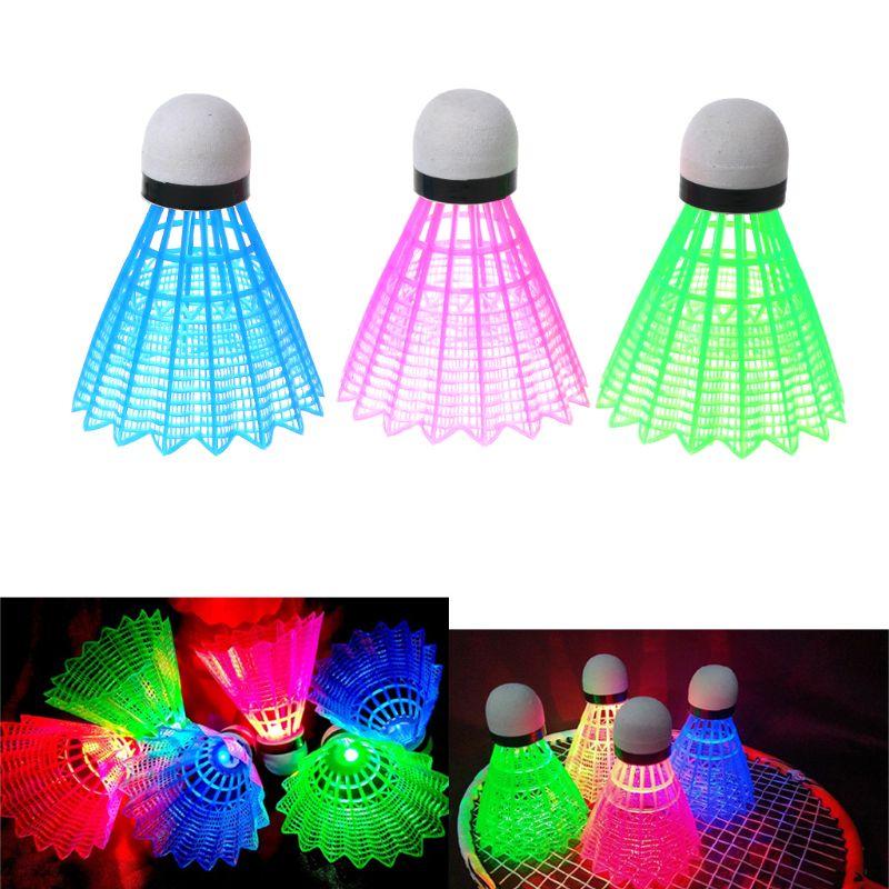 3pcs LED Luminous Badminton Dark Night Colored Plastic Foam Glowing Shuttlecocks