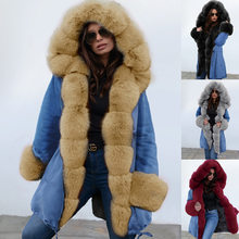 2019 New European And American Temperament Winter Women's Warm Jacket Hooded Coat Fur Collar Coat(China)