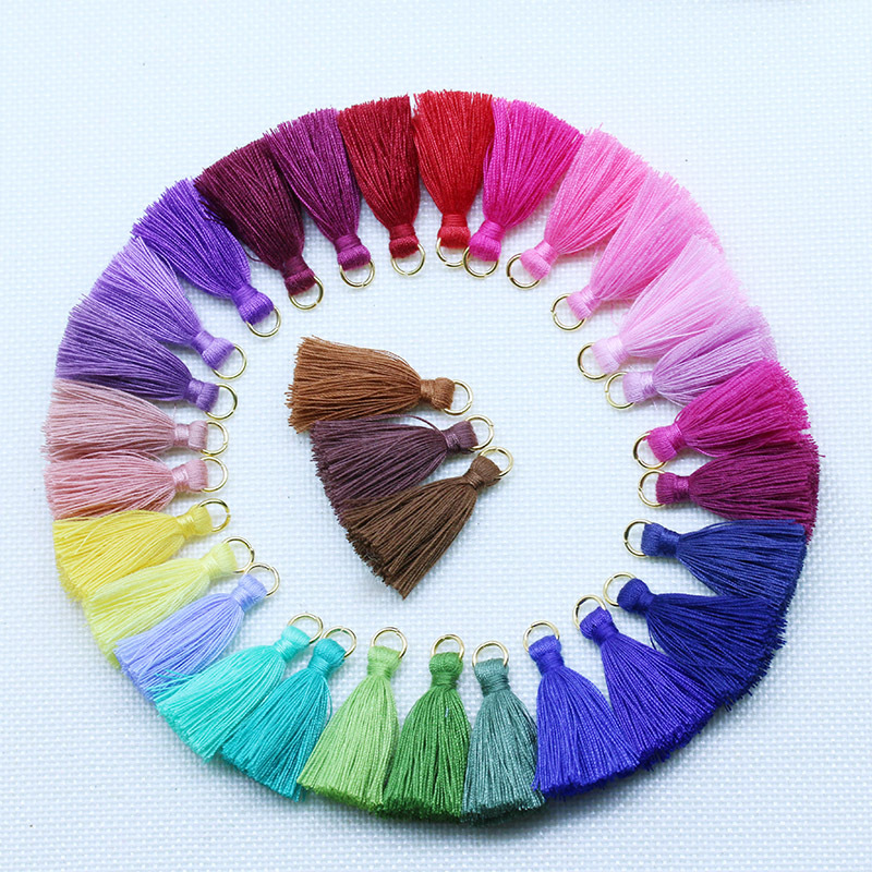 80PCs Mixed 8 Colors Silk Satin Tassels Crafts Sewing Jewelty Long 9cm