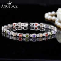 ANGELCZ exquis 925 argent Sterling CZ Tennis Bracelets Bracelets incrustés carré rouge vert zircon cubique bijoux pour femmes AB108