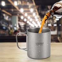 Lixada Camping en plein air pique-nique 250 ml/450 ml titane Double paroi tasse eau café thé tasse avec poignée pliable