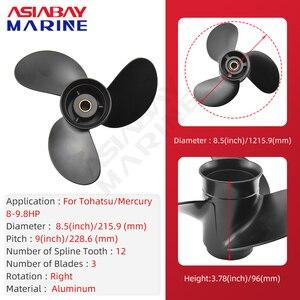 Image 2 - Outboard Propeller For Tohatsu Mercury 8hp 9.9hp 8.5*9 Boat Ship Aluminum Alloy Screw 3 Blade 12 Spline Marine Engine Part