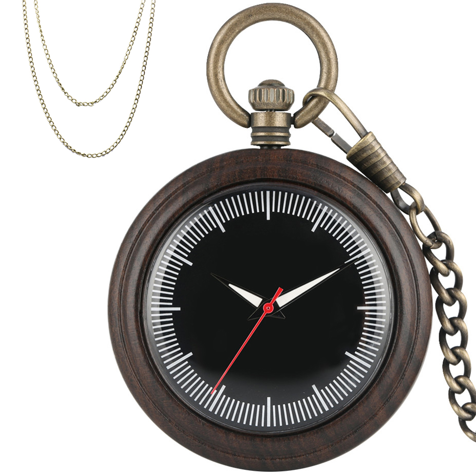 Creative Wooden Case Quartz Pocket Watch Retro Pendant Pocket Clock Bronze Necklace Chain + Pocket Chain New Arrival 2019