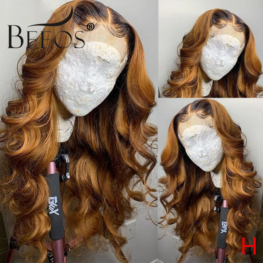 Beeos 180% 360 Lace Front Human Hair Wig Ombre Brown Color Body Wave Brazilian Remy Pre Plucked With Baby Hair Bleached Knots