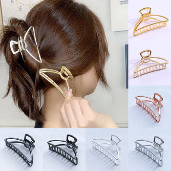 Women Girls Geometric Hair Claw Clamps Metal Hair Crab Moon Shape Hair Claw Clip Solid Color Hairpin Large Size Hair Accessories image