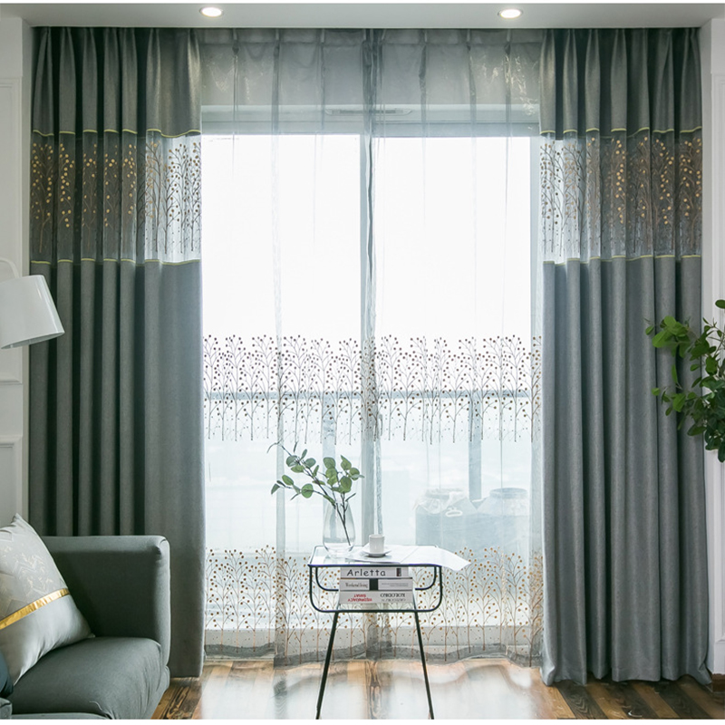 Grey Thick Curtains For Living Room Bedroom Blackout Chinese Embroiderd Linen Curtain Kitchen Window Tulle Kids Room