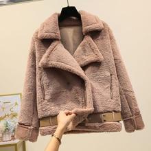 Coat Parkas WomenFaux Mink Rabbit Female Bomber Jacket Basic Jackets Harajuku Fur Teddy Sheepskin Womens Winter Suede Leather