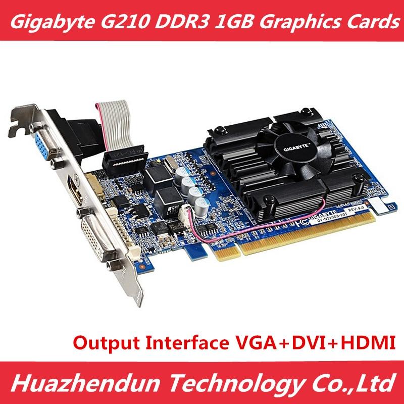 GIGABYTE G210 1GB Graphics Cards 64Bit GDDR3 Video Card Original n210 1G for nVIDIA Geforce GPU PC games Dvi HDMI VGA Used