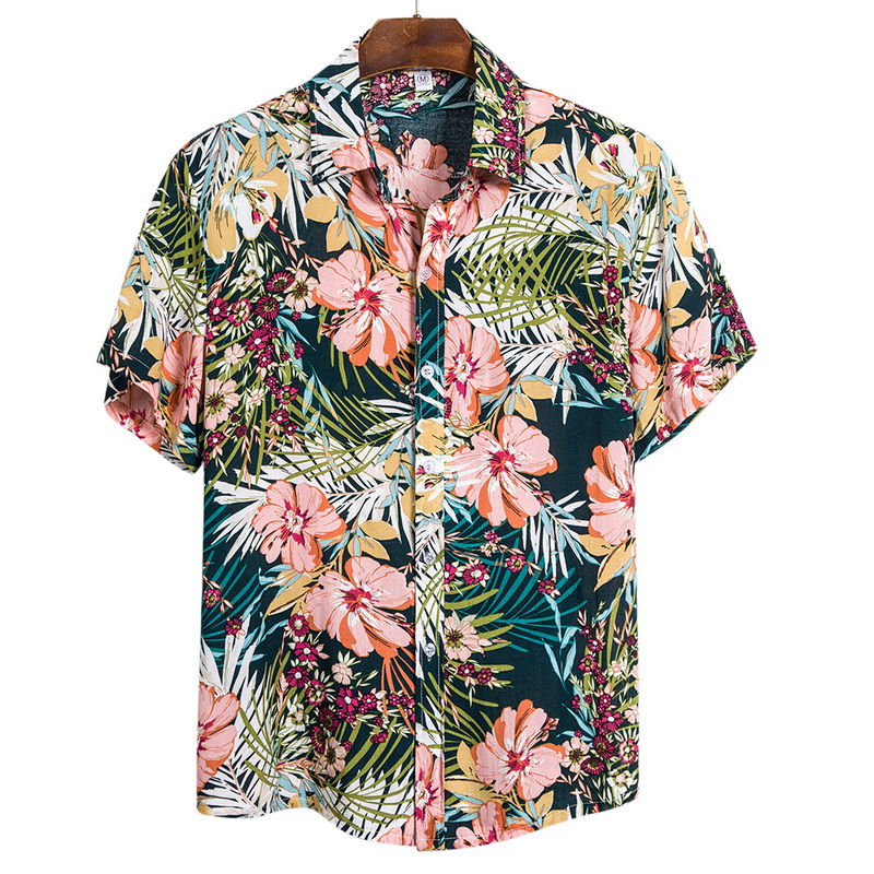 Adisputent 2020 Summer Hawaiian Shirt Beach Shirts Tropical Shirt Floral Tops Casual Short Sleeve Cotton Lapel Button Camisa Tee