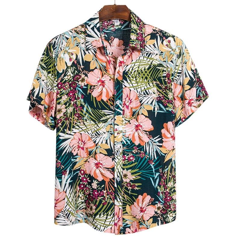 Adisputent 2020 Summer Hawaiian Shirt Beach Shirts Tropical Shirt Floral Tops Casual Short Sleeve Cotton Lapel Button Camisa Tee