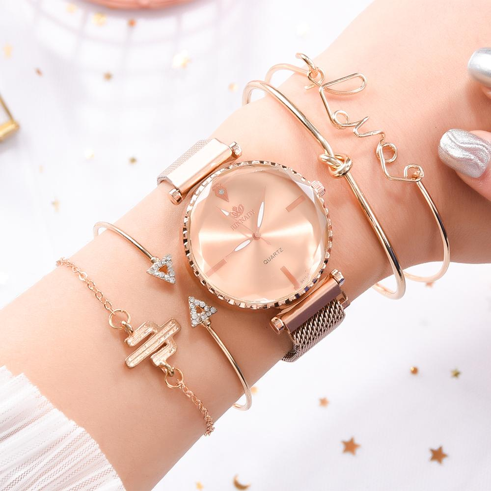 Fashion Style 5pcs/set Women Watches Rose Gold Magnetic Ladies Watch Dress Simple Watch And Bracelet Set Womens Zegarek Damski