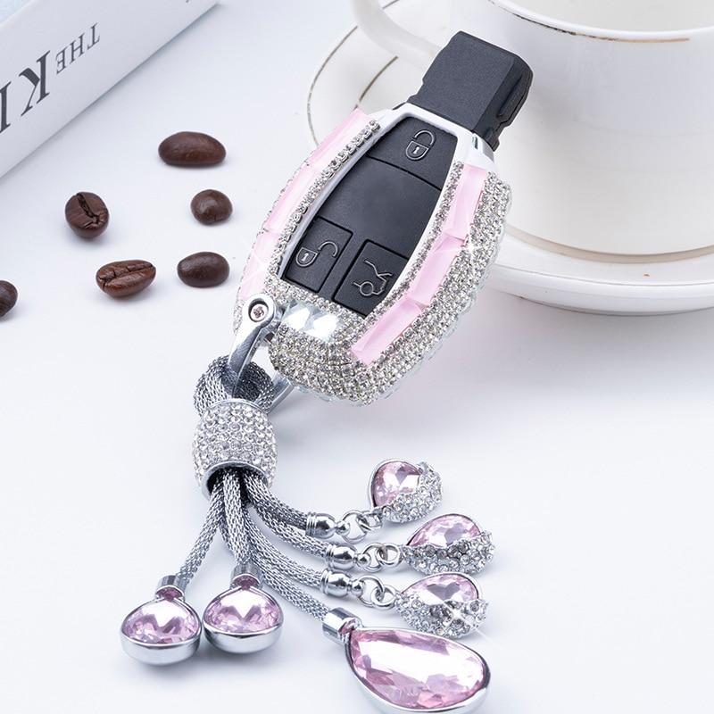 Yüksek kaliteli elmas çinko alaşım araba anahtar kılıfı tutucu Mercedes Benz için W203 W210 W211 W124 W202 W204 AMG CLA aksesuarları