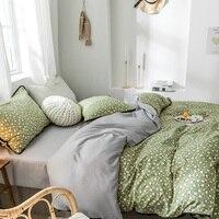 Groene bloem beddengoed set hoge kwaliteit reactief afdrukken beddengoed 3/4 pcs dekbedovertrek + laken + kussensloop winter pastorale