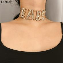 Lacteo Punk Rhinestone Letter BABE Choker Necklaces for Women Statement Golden Alloy Clavicle Chain Necklace Female Jewelry Gift punk style alloy rhinestone necklace