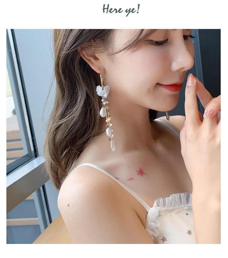 Vintage Crystal Water Drop Women Dangle Earrings Pearl Flower Fringed Earrings Sweet Shell Earrings Bohemian Drop Earrings