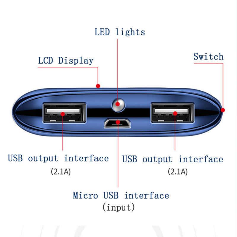 ل Xiao mi mi آيفون 7 8 XR 11 30000 مللي أمبير قوة البنك بطارية خارجية PoverBank 2 USB LED Powerbank المحمولة شاحن الهاتف المحمول