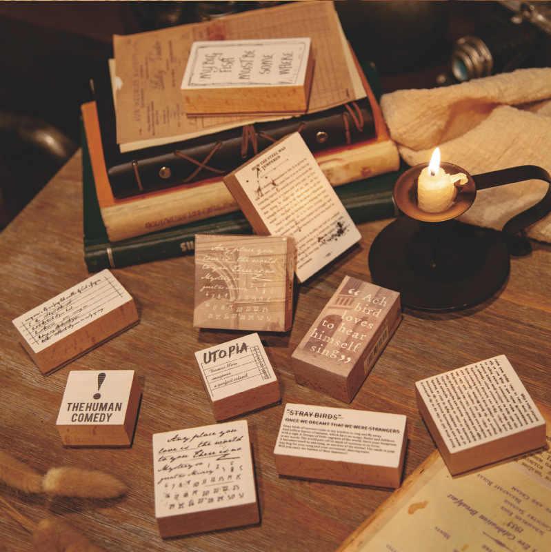 VINTAGE Retro ภาษาอังกฤษ Library ตัวอักษรแสตมป์ DIY ไม้แสตมป์ยางสำหรับ Scrapbooking เครื่องเขียน Scrapbooking แสตมป์มาตรฐาน