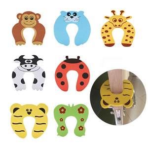 2Pcs/Lot Child Safety Protection Lock Cute Animal Security Card Door Stopper Toddler Kids Baby Care Lock Protection