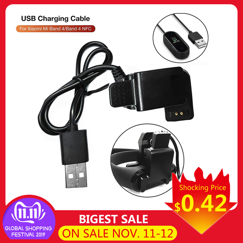 Disassembly-free Charger Adapter 13/20/100cm USB Charging Cable For Xiaomi Mi Band 3/4/ NFC Smart Wristbands Back Clip Charger