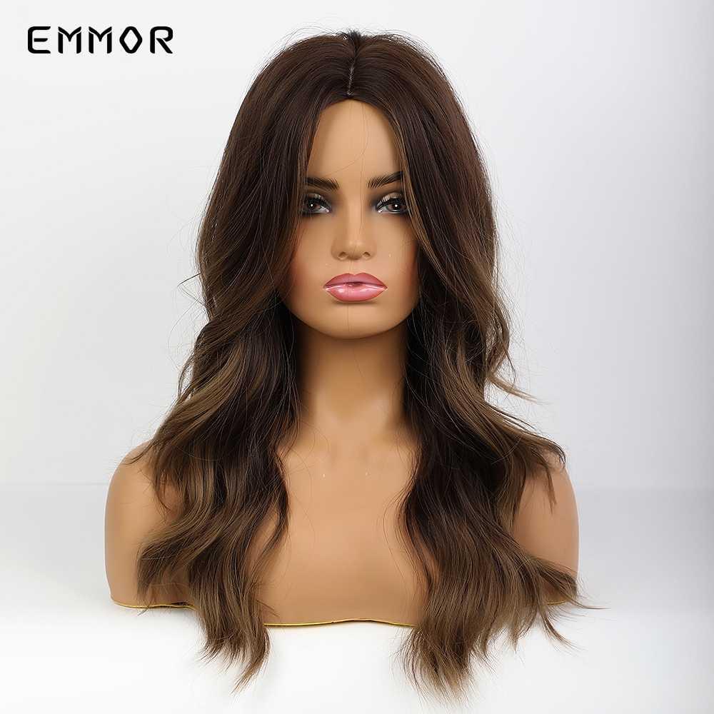 Emmor Panjang Lampu Keren Coklat Sorot Gelap Rambut Pirang Bergelombang Wig Rambut Sintetis Suhu Tinggi Berlapis Harian Ombre Wig untuk Wanita