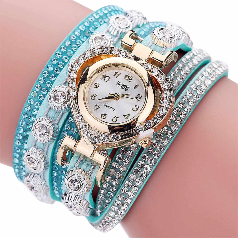 CCQ สร้อยข้อมือ VINTAGE VINTAGE Rhinestone คริสตัลนาฬิกาข้อมือควอตซ์แบบแอนะล็อก relogio feminino наручные часы женские