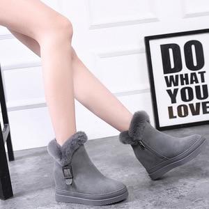 Image 4 - 여자의 눈 부팅 정품 가죽 여성 발목 부츠 2019 겨울 패션 버클 여자 스노우 부츠 여성 하이힐 겨울 신발
