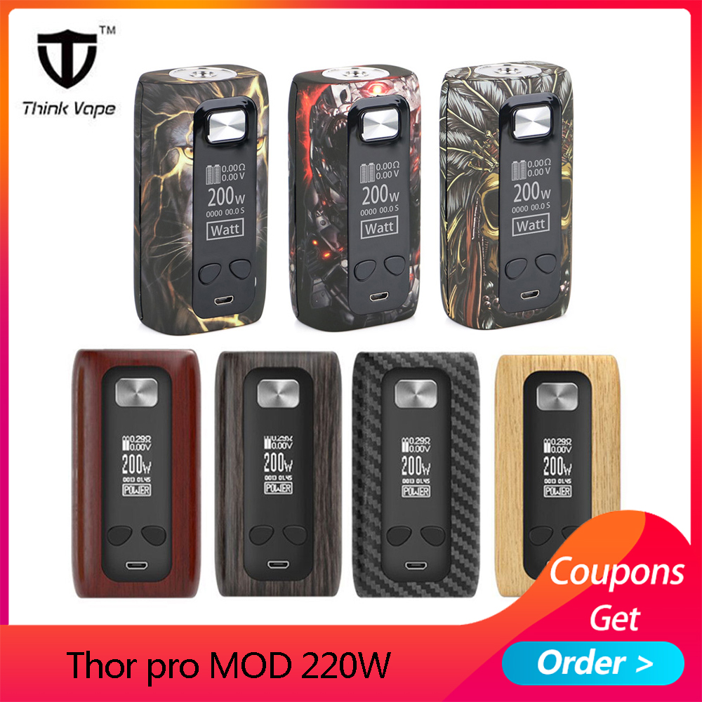 Original Think Vape Thor Pro MOD 220w Dual 18650 Electronic Cigarette Mod VW/TC/Bypass TFT Screen Vs Vape Thor Box Mod