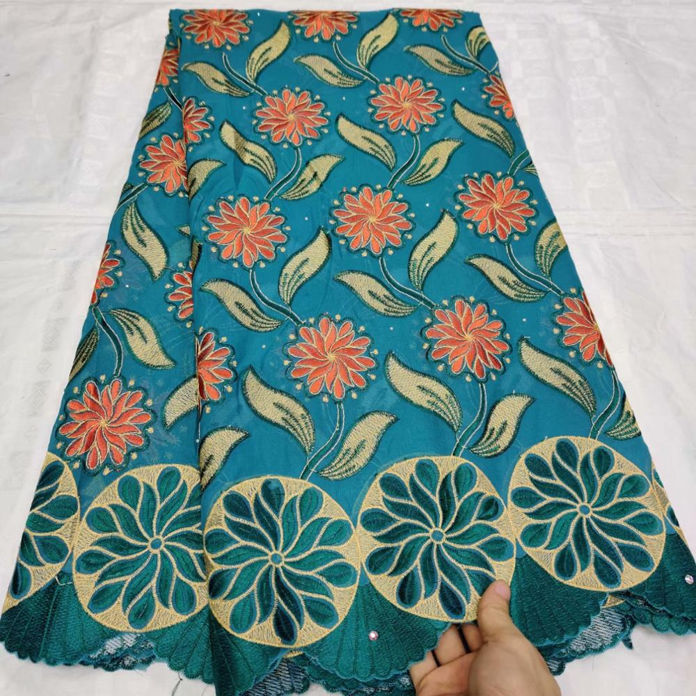 5 yard cotton lace fabric 2020 latest heavy beaded embroidery African cotton fabrics Swiss voile lace popular Dubai style
