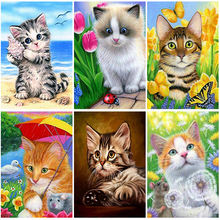 Diy cat 5d diamond painting full square/round rhinestones mosaic