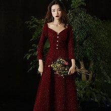 Китайское платье в бордовую полоску с блестящими пайетками, женское элегантное вечернее платье Cheongsam, элегантное платье Qipao, новинка, воротник Vestidos