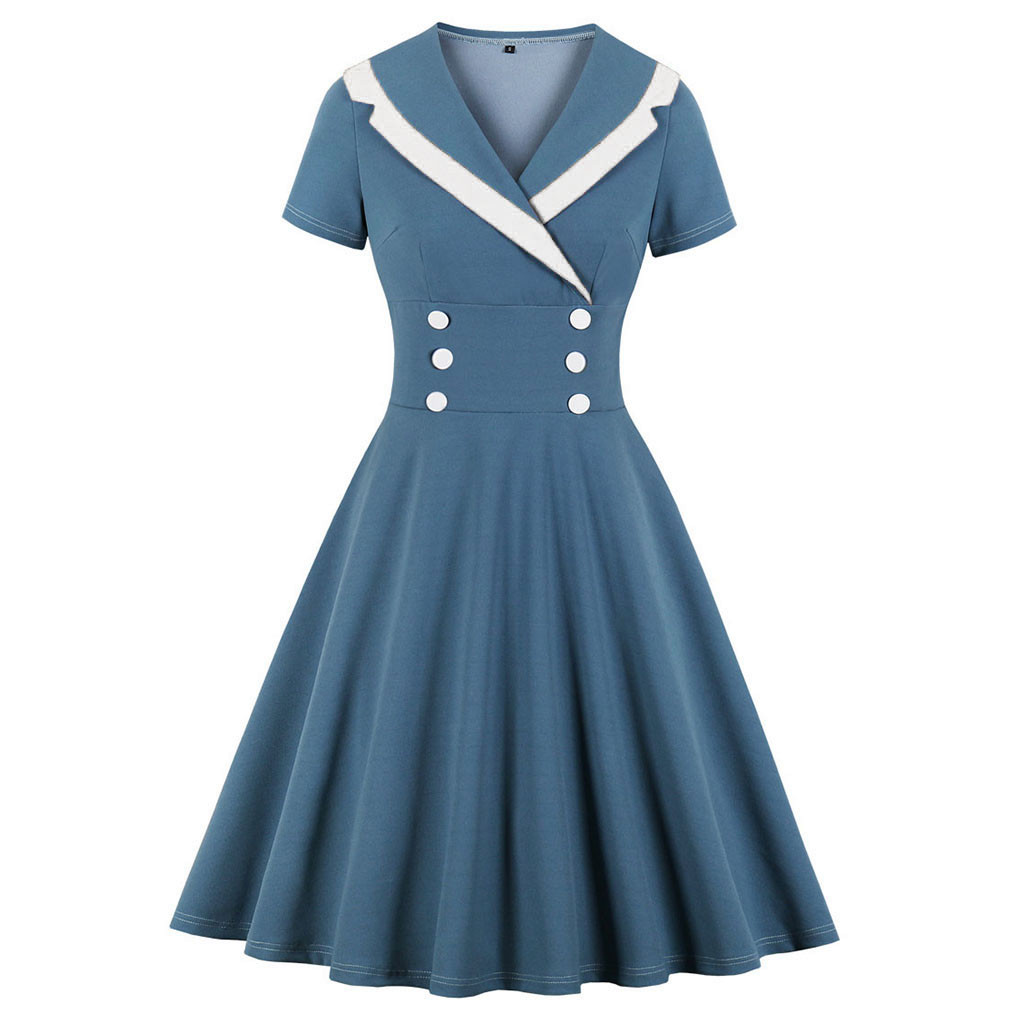 Casual Women Summer Dresses Short Sleeve Sailor Collar Navy Blue Ladies Elegant Party Dress Rockabilly Vintage Retro Dress Women