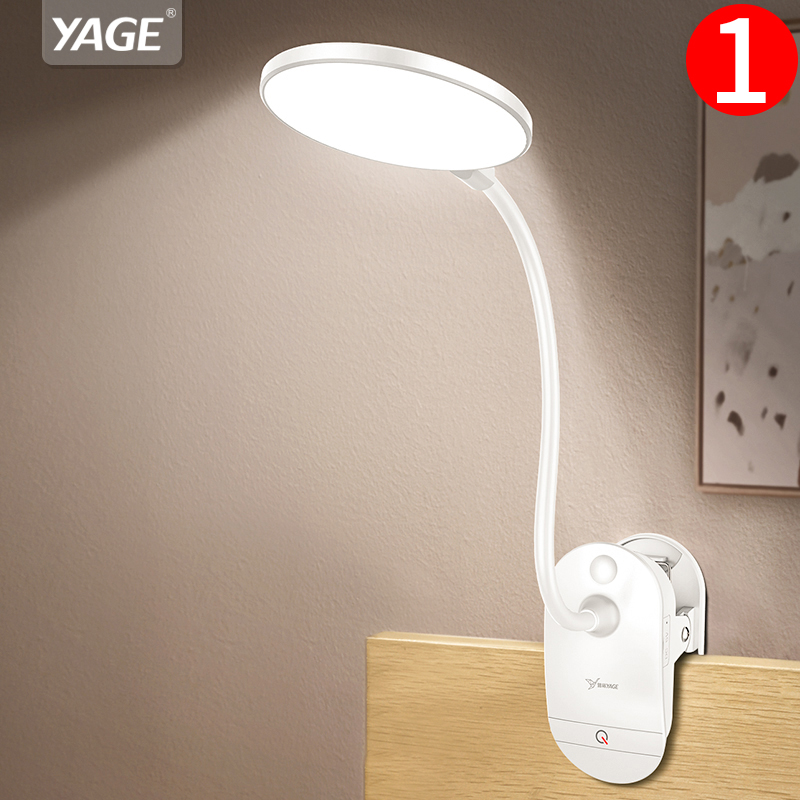 YAGE Gooseneck Wireless Table Lamp 18650 Rechargeable Led Desk Lamp Clip Touch Study Lamps Table Desktop USB 3 Modes Table Light-in Desk Lamps from Lights & Lighting