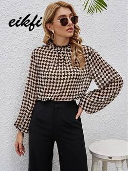 EIKFI Women Multicolor Frill Neck Checkerboard Blouse Top Spring Lantern Sleeve Office Lady Plaid Elegant Casual Blouses Tops 1
