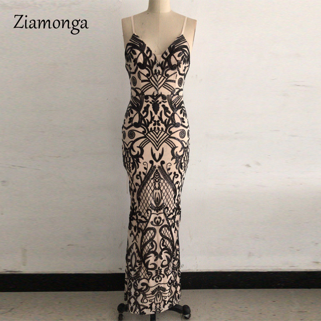 Ziamonga Spaghetti Strap Sequin Dress Floor-Length Patchwork Maxi Dress Long Gown 2020 New Fashion Sexy Vestidos De Festa Longo 5