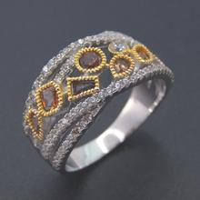 Silver Bands Women Rings with CZ Trendy Attractive Rings 100 925 Sterling Silver Ring Women Wedding Jewelry Party Gift cheap DJ CH 925 Sterling Zircon Third Party Appraisal Fine Prong Setting None DR03010946R PLANT Wedding Bands CZ Women Ring Yellow gold ring
