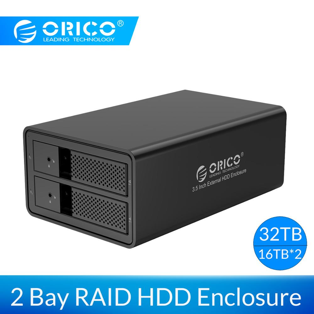 ORICO 3.5'' Dual Bay HDD Docking Station USB3.0 To SATA With RAID Aluminum HDD Enclosure 78W External Power Adapter HDD Case