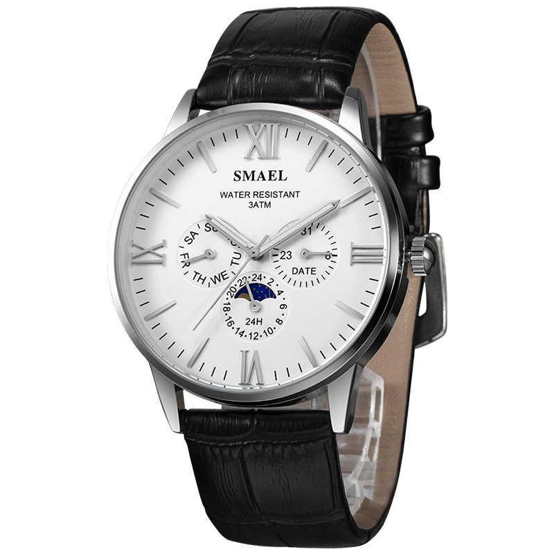 24 SMAEL Assista Men Marca de Luxo horas Data Semana Esporte dos homens Relógios Pulseira de Couro À Prova D' Água Quartz Relógio de Pulso Relogio masculino