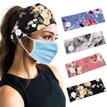 2P Soft Earmuff Sports Yoga Headband With Button For Women Flower Print Outdoor Fashion Casual Headw