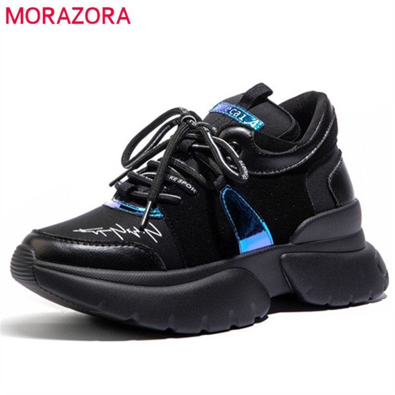 MORAZORA top quality genuine leather shoes women flat platform sneakers lace up spring autumn comfortable casual shoes woman
