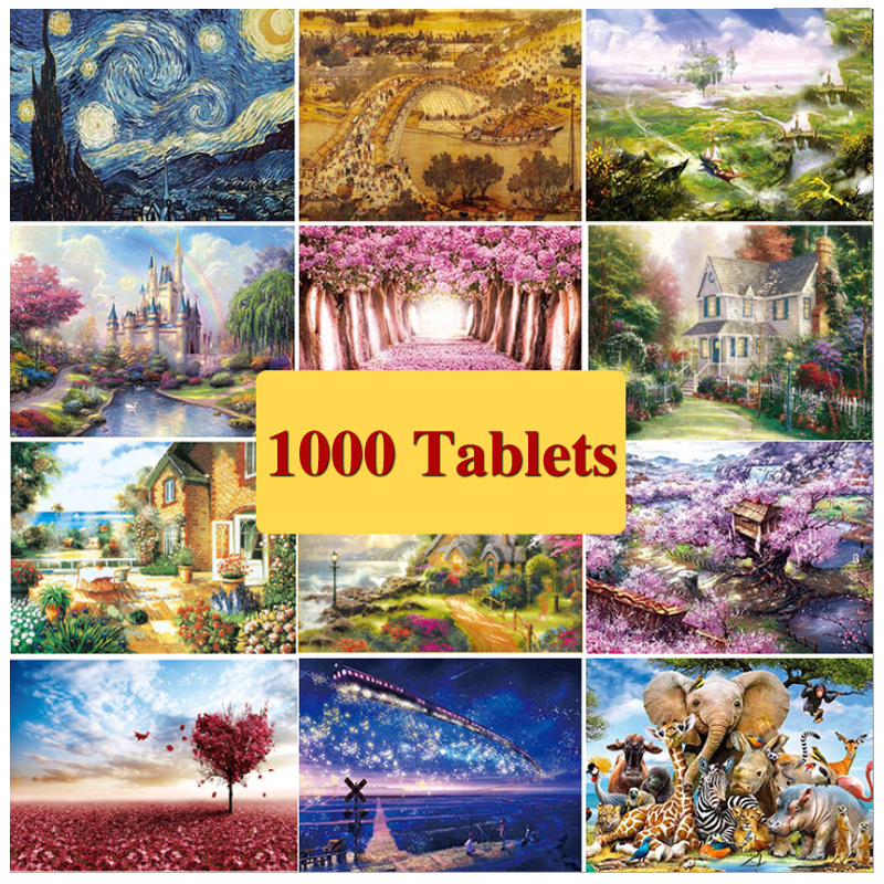 1000 Pieces Of Adult Decompression Paper Puzzle Children's Educational Toys Anime Scenery Picture Painting Children's Toy Gifts