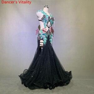 Image 3 - 豪華なベリーダンスのパフォーマンス衣装キラキラビーズブラジャービッグ裾スカートセット女性女性東洋のインドダンスステージの摩耗